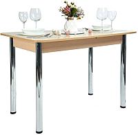 Обеденный стол Рамзес Раздвижной прямоугольный ЛДСП 110-140x70 (дуб сонома светлый/ноги хром) -