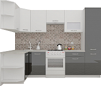 Готовая кухня ВерсоМебель ЭкоЛайт-6 1.3x2.8 правая (белый/черный) -