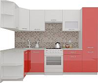 Готовая кухня ВерсоМебель ЭкоЛайт-6 1.3x2.8 левая (белый/красный) -