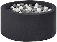 Игровой сухой бассейн Misioo 90x40 200 шаров (черный) -