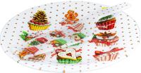 Блюдо для торта Zibo Shelley Новогодние капкейки / S3010/2PDQ X051 (с лопаткой) -