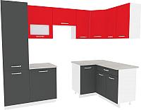 Готовая кухня ВерсоМебель Эко-6 1.4x2.7 правая (антрацит/красный чили) -