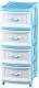 Комод пластиковый Эльфпласт Классика 4 (белый/голубой) -