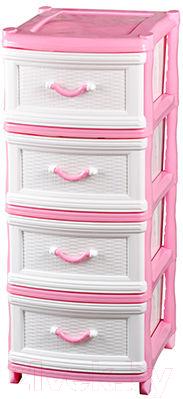 Комод пластиковый Эльфпласт Классика 4 (белый/розовый)