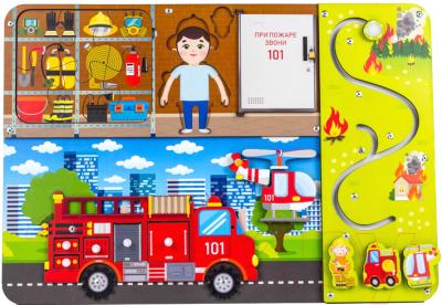 Развивающая игрушка WoodLand Toys Бизиборд. Пожарная служба / 112305