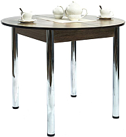 Обеденный стол Рамзес Раздвижной круглый ЛДСП 94-124x94 (дуб сонома темный/хром) -