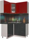 Готовая кухня Интерлиния Мила Пластик 1.2x1.4 (антрацит глянец/красный глянец/кастилло темный) -