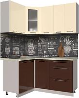 Готовая кухня Интерлиния Мила Пластик 1.2x1.6 (шоколад глянец/ваниль глянец/опал светлый) -