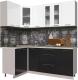 Готовая кухня Интерлиния Мила Пластик 1.2x2.0 (черный глянец/белый глянец/опал светлый) -