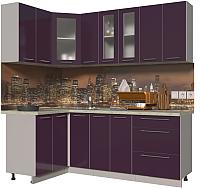 Готовая кухня Интерлиния Мила Пластик 1.2x2.1 (слива глянец/опал светлый) -
