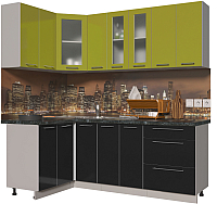Готовая кухня Интерлиния Мила Пластик 1.2x2.1 (черный глянец/оливковый глянец/кастилло темный) -