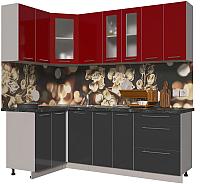 Готовая кухня Интерлиния Мила Пластик 1.2x2.2 (антрацит глянец/красный глянец/кастилло темный) -
