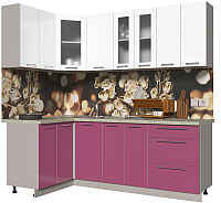 Готовая кухня Интерлиния Мила Пластик 1.2x2.2 (гортензия глянец/белый глянец/опал светлый) -