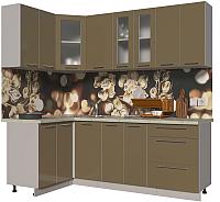 Готовая кухня Интерлиния Мила Пластик 1.2x2.2 (капучино глянец/опал светлый) -