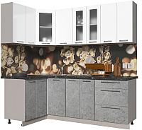 Готовая кухня Интерлиния Мила Пластик 1.2x2.2 (мрамор/белый глянец/кастилло темный) -