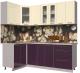 Готовая кухня Интерлиния Мила Пластик 1.2x2.2 (слива глянец/ваниль глянец/травертин) -