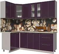 Готовая кухня Интерлиния Мила Пластик 1.2x2.2 (слива глянец/опал светлый) -