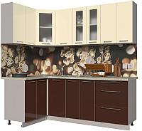Готовая кухня Интерлиния Мила Пластик 1.2x2.2 (шоколад глянец/ваниль глянец/опал светлый) -