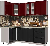 Готовая кухня Интерлиния Мила Пластик 1.2x2.2 (черный глянец/бордо глянец/опал светлый) -