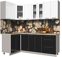 Готовая кухня Интерлиния Мила Пластик 1.2x2.2 (черный глянец/белый глянец/опал светлый) -