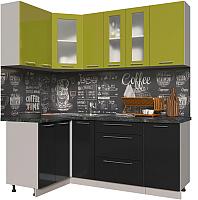 Готовая кухня Интерлиния Мила Пластик 1.2x1.9 (черный глянец/оливковый глянец/кастилло темный) -