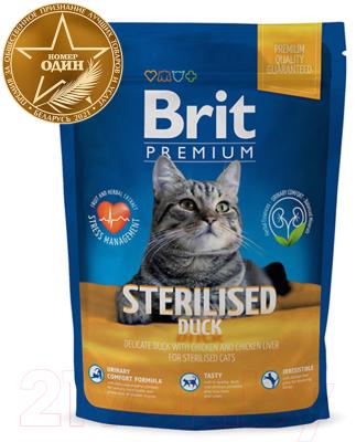 Корм для кошек Brit Premium Cat Sterilised Duck с уткой, курицей и куриной печенью