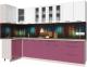 Готовая кухня Интерлиния Мила Пластик 1.2x3.0 (гортензия глянец/белый глянец/опал светлый) -
