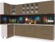 Готовая кухня Интерлиния Мила Пластик 1.2x3.0 (капучино глянец/опал светлый) -