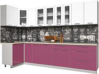 Готовая кухня Интерлиния Мила Пластик 1.2x3.2 (гортензия глянец/белый глянец/опал светлый) -