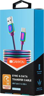 Кабель Canyon USB Type C - USB 2.0 / CNS-USBC7RW (1.2м, Rainbow)