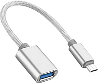 Адаптер Atom USB Type-C 3.1 - USB А 3.0 OTG (серебристый) -
