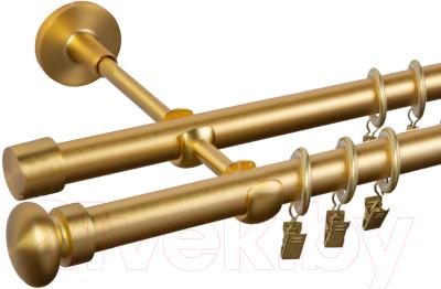 Карниз для штор АС ФОРОС Dance D19Г/19Г+наконечники Шар плоский матовое золото (2.4м, матовое золото)