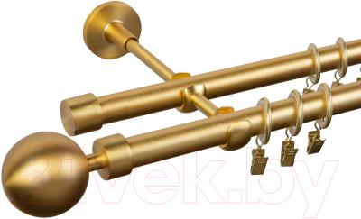 Карниз для штор АС ФОРОС Dance D19Г/19Г+наконечники Шар модерн матовое золото (3м, матовое золото)