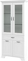 Шкаф с витриной Мебель-Неман Юнона МН-132-14 (белый текстурный) -