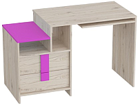 Письменный стол Мебельград Скаут (дуб бонифаций/софт тач фуксия) -