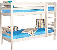 Двухъярусная кровать Мебельград Соня вариант 9 (массив сосны белый) -