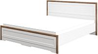 Двуспальная кровать Мебель-Неман Тиволи МН-035-25-180 (белый структурный/дуб стирлинг) -