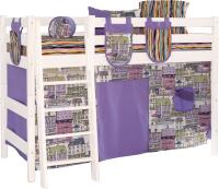 Шторки для кровати-чердака Мебельград Соня (191x79 + 81x79, кэнэлс сиреневый/панама песко сиреневый) -