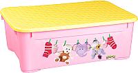 Ящик для хранения Пластишка С аппликацией 431377805 (розовый) -