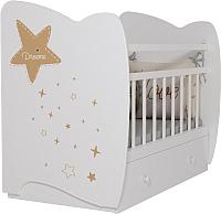 Детская кроватка VDK Estella маятник и ящик (белый) -