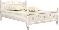 Полуторная кровать Мебельград Людмила-17 120x200 (ясень жемчужный с патиной) -