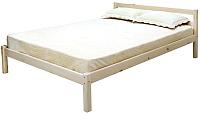 Односпальная кровать Мебельград Рино 90x200 с опорными брусками (массив сосны без покрытия) -