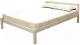 Полуторная кровать Мебельград Рино 120x200 с опорными брусками (массив сосны без покрытия) -
