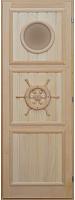 Деревянная дверь для бани Doorwood Штурвал с иллюминатором 184x74 -