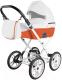 Детская универсальная коляска Ray Corsa Ecco Classic 2 в 1 (23/белая кожа/оранжевая кожа) -