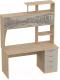 Письменный стол Мебельград СК-11 (дуб натуральный светлый/капучино/фотопечать) -