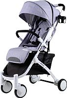 Детская прогулочная коляска Babyzz D200 (серый, белая рама) -