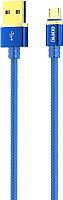 Кабель Olmio Deluxe USB 2.0 - microUSB 2.1A / 038854 (1м, синий) -