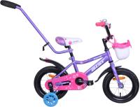 Детский велосипед с ручкой AIST Wiki 12 2020 (фиолетовый) -
