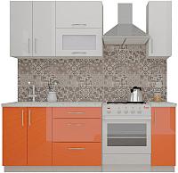 Готовая кухня ВерсоМебель ВерсоЛайн 4-1.5 (белый 001/яркий оранжевый 008) -